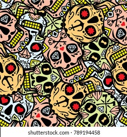 sugar skulls seamless pattern
