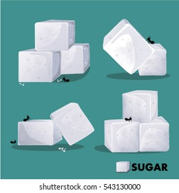 Sugar White Cube Set vector illustration
