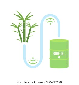 Sugarcane ethanol biofuel vector icon. Alternative environmental friendy fuel.