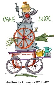 Sugarcane motorized press. Street vendor device. Caricature. Indian street food.