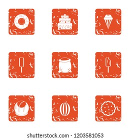 Sugariness icons set. Grunge set of 9 sugariness vector icons for web isolated on white background