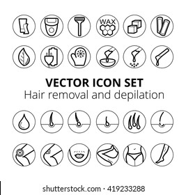 Sugaring, waxing, photoepilation, hair removing. Thin lines icon set. Sugaring, waxing, Hair removing. Allergy, skin irritation, pain icons. Depilation and epilation icon set
