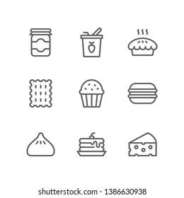 Sugary Food icon set including jam jar, yogurt, pie, biscuit, bakery, cupcake, macaron, bun, pancake, cheese