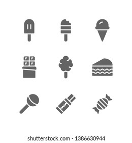Sugary Food icon set including popsicle, ice cream, chocolate, cotton candy, cake, lollipop, chewing gum, sweet