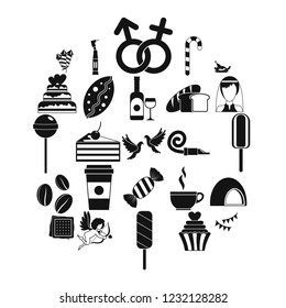 Sugary food icons set. Simple set of 25 sugary food vector icons for web isolated on white background
