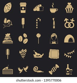 Sugary food icons set. Simple set of 25 sugary food vector icons for web for any design
