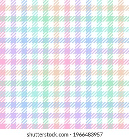 Sugary pastel gingham. Seamless vector sweet rainbow coloured plaid suitable for fashion, home decor and stationary.