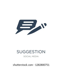 suggestion icon vector on white background, suggestion trendy filled icons from Social media collection, suggestion vector illustration