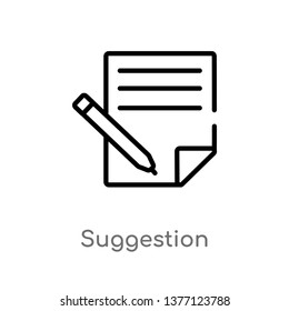 suggestion vector line icon. Simple element illustration. suggestion outline icon from social media concept. Can be used for web and mobile