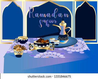 Suhoor – the pre-dawn meal.Coffee and sweet dates for Islamic Holy Month.Coffee House in Dubai.Vector for design flyer, invitation, card, poster.
