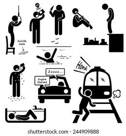 Suicidal Commit Suicide Methods Stick Figure Pictogram Icons