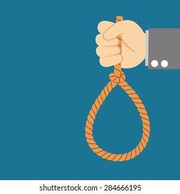 Suicide and business topic: Hand of a businessman in a black jacket holding a loop of rope for hanging