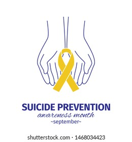 Suicide Prevention. Awareness month concept. Yellow ribbon in the hands of man. Vector illustration