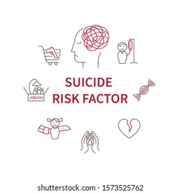 Suicide risk factor circle infografic. Main risk of suicide in line symbol - child maltreatment and religious beliefs, relationship problem and jobless, heredity and phisical illness.