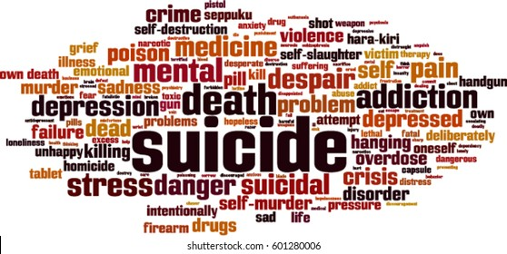 Suicide word cloud concept. Vector illustration