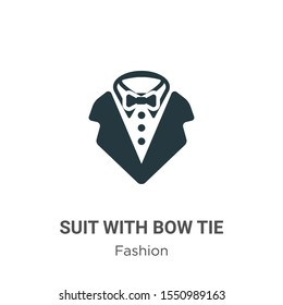 Suit with bow tie vector icon on white background. Flat vector suit with bow tie icon symbol sign from modern fashion collection for mobile concept and web apps design.