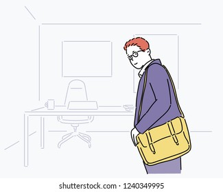 suit businessman and his office. hand drawn style vector design illustrations.
