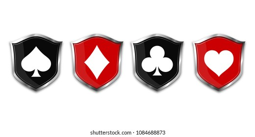 Suit deck of cards on shield. Vector illustration.