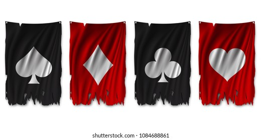 Suit deck of cards on torn flag. Vector illustration.