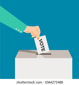 Suit Hand puts voting ballot in ballot box. Presidential Voting and election concept. Make a choice image. Vote illustration.