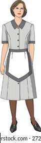 The suit of the housemaid consists of a dress and an apron.