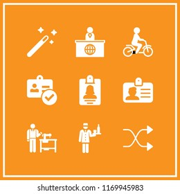 suit icon. 9 suit vector set. news reporter, id card, magic wand and shuffle icons for web and design about suit theme