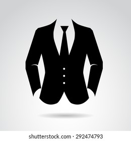 Suit icon isolated on white background. Vector art.