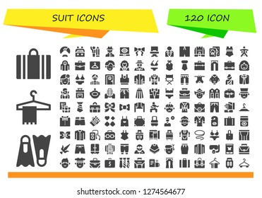 suit icon set. 120 filled suit icons. Simple modern icons about  - Suitcase, Dive, Hanger, Man, Case, Businessman, Spy, Tie, Director, Swimsuit, Medieval, Playing cards, Wingsuit