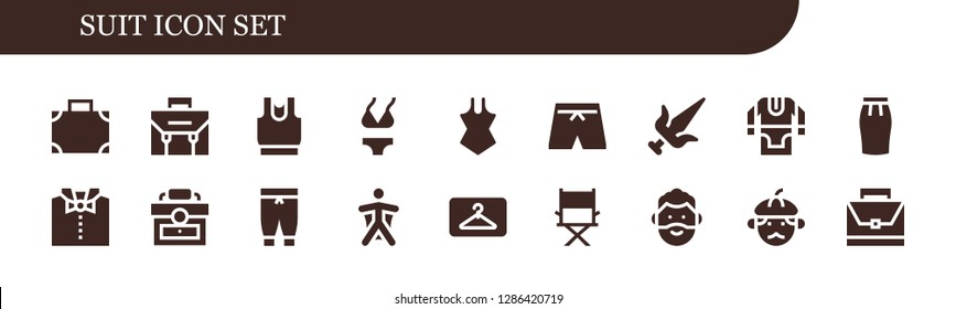 suit icon set. 18 filled suit icons. Simple modern icons about  - Suitcase, Briefcase, Clothes, Bikini, Swimsuit, Martial arts, Tunic, Skirt, Bow tie, Pants, Wingsuit, Hanger