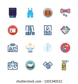 suit icon set. vector set about id card, blinder, businessman and point of service icons set.