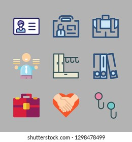 suit icon set. vector set about hanger, blinder, id card and briefcase icons set.