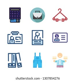suit icon set. vector set about overall, blinder, point of service and hanger icons set.