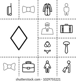 Suit icons. set of 13 editable outline suit icons such as man with luggage, diamonds, tie, man, case, jacket, swimsuit, suitcase, security guy