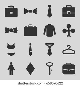 Suit icons set. set of 16 suit filled icons such as hanger, clubs, diamonds, sweater, tie, bow tie, case, man