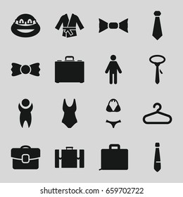 Suit icons set. set of 16 suit filled icons such as hanger, tie, bow tie, ninja, case, kimono, swimsuit, suitcase, man