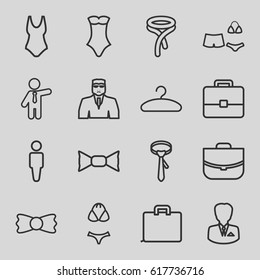 Suit icons set. set of 16 suit outline icons such as man, security guy, swimsuit, tie, bow tie, businessman, case, hanger