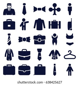 Suit icons set. set of 25 suit filled icons such as hanger, man, clubs, security guy, sweater, bow tie, businessman, case, tie, jacket, kimono, suitcase
