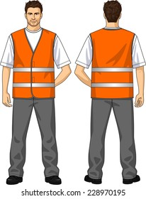 The suit for the man consists of an alarm vest and trousers