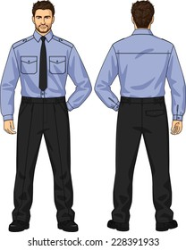 The suit for the man consists of a shirt and trousers