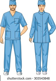 The suit medical for the man and the woman consists of a jacket and trousers