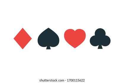 Suit of playing cards. Vector illustration symbols isolated on white background
