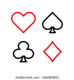 Suit poker cards lines icon on flat style, vector isolated illustration set