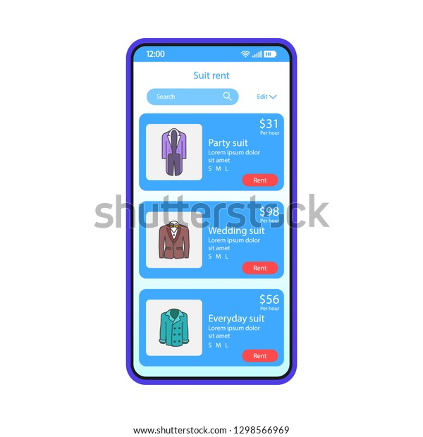 Suit Rent Application Smartphone Interface Vector Stock