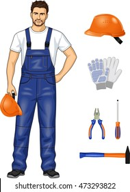 Suit and tools for the worker