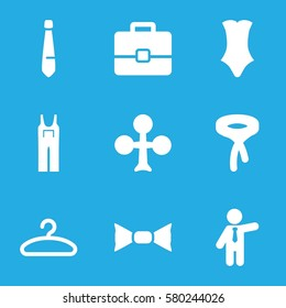suit vector icons. Set of 9 suit filled icons such as Clubs, swimsuit, bow tie, tie, jumpsuit, businessman, hanger