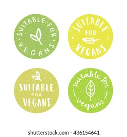 Suitable for vegans.Set of vegan hand drawn badges. Vector illustration