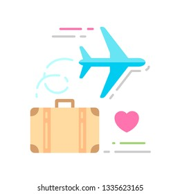 Suitcase with an airplane flat color icon. Honeymoon concept. Sign for web page, mobile app, banner, social media. Pictogram UI/UX and GUI user interface. Vector clipart, illustration.