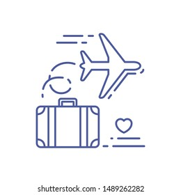 Suitcase with an airplane line icon. Honeymoon concept. Love to travel. Sign for web page, mobile app, banner, social media. Pictogram UI/UX/GUI isolated element. Vector clip art, illustration.
