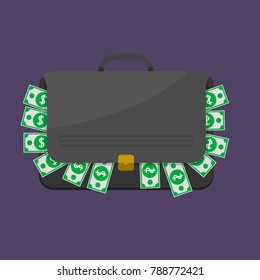 Suitcase with dollar banknotes. Briefcase with cash, Vector illustration