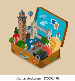 Suitcase full of sights landmarks showplace flat 3d isometric isometry vacation travel tourism concept vector web site illustration. Creative travel collection.